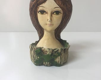 Vintage Paper Mache Doll Head Makeup Caddy 1970s