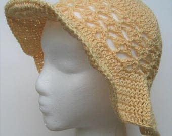 Sunhats, pastel colors, cotton, crochet, airy, yellow, blue, purple, pink, coral hats, Summer hats in sunny colors