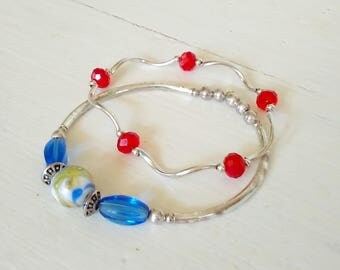 2 Stretchy Bangle Bracelets made with Silver, Red & Blue Beads/Small Medium Size/Vintage/4th of July/Pair/ Set/lindafrenchgallery