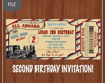 Train Second Birthday Invitation - Train Birthday Party - Train Ticket Invitation - Chugga Chugga Two Two - 2nd Birthday Invite - Invitation