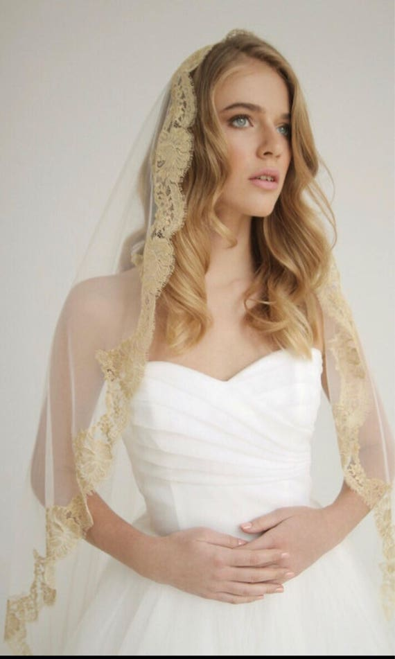 Gold Lace, Mantilla, Lace Wedding Veil, Drop Veil, Bridal Veil, Wedding Veil, Luxury Veil, Chantilly Lace Veil, Cathedral Veil- DUCHESS VEIL