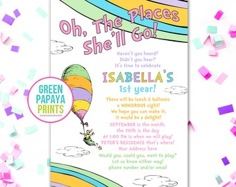 Oh The Places You'll Go Birthday Invitation - Girl - Pink - Printable - First Birthday - Any Age Oh The Places She'll Go Birthday Invitation