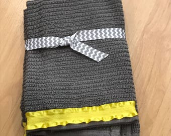 Yellow ruffles and grey Hand Towels