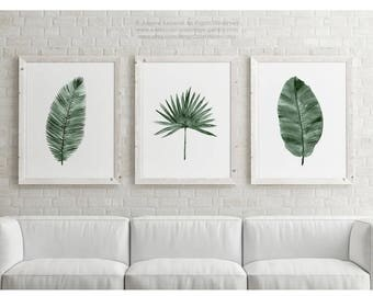 Canvas Palm Leaf Illustration, set 3 Art Prints Green Botanical Banana Date Palm Leaves Drawing, Minimalist Plant print Living Room Poster