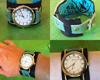 handmade leather wrist watch with wide band in turquoise