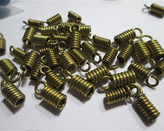 24 Vintage Brass End Caps with Loops for Necklaces, Bracelets