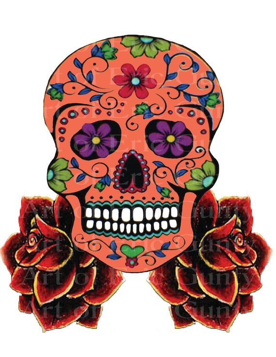 Orange Sugar Skull & Roses Halloween Birthday - Edible Cake and Cupcake Topper For Birthday's and Parties! - D22653