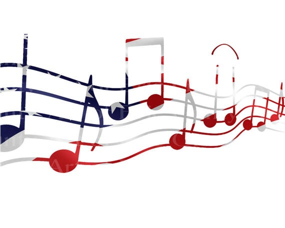 Patriotic Musical Notes Band Birthday - Edible Cake and Cupcake Topper For Birthday's and Parties! - D22855