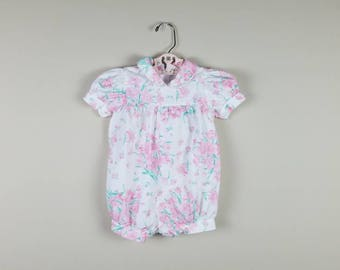 Vintage 1980s romper shorts floral white pink 18 months