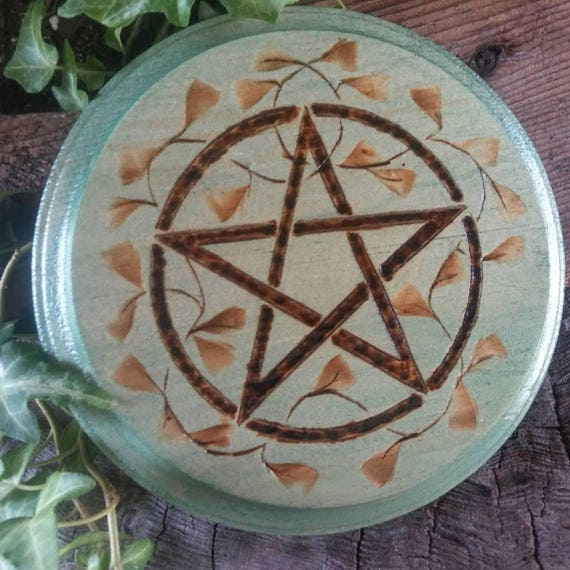Wiccan Altar Paten, Wiccan Altar Tile, Pentagram Charging Tile, Altar Paten, Altar Tile, Pentacle Altar, Witchcraft, Occult