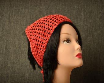 Crochet Cotton headband, triangle hair bandana, gift for girl, Womens Hair Accessories, Boho head scarf