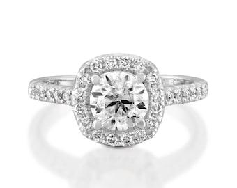 Art deco engagement ring-Moissanite engagement ring-Halo Engagement Ring-Yellow Gold Ring-Charles & Colvard Moissanite Ring -Promise ring