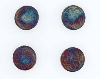 Multicolored Matte Raku Ceramic 3-D Triskelion Beads