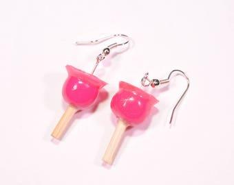Pink love Apple earrings