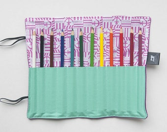 Roll Pencil case for Designer and artist fan crayons pink anchor and turquoise, spring clip made from recycled