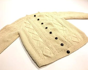 Wool Popcorn Knit Fishermans Sweater
