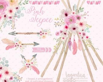 Teepee, Tipi and floral Watercolor clipart, PNG, wedding, bouquet, arrangement,  digital art, pink flowers, bridal shower, for blog banner