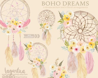 Floral Dreamcatcher Watercolor clipart, PNG, wedding, bouquet, arrangement,  digital art, pink flowers, bridal shower, for blog banner