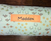 """Personalized 1"""" Memory Foam Preschool / Kinder Nap Mat in Go fish Fabric with Removable Pillow, and Minky Blanket"""