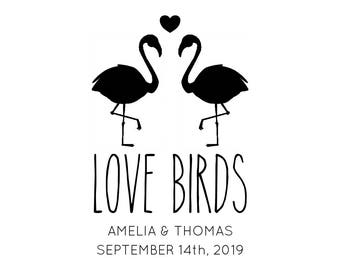 "Flamingo Love Birds Stamp, personalised names and date wedding stamp, wedding favours, wedding invites stamp, save the date, 2""x3"" (cts195)"