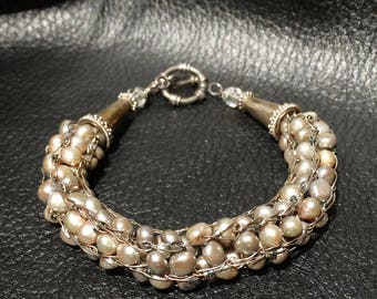 Pearl Sterling Bracelet, Woven Gray Cultured Pearls, Vintage