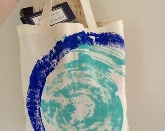 SALE Canvas Tote Bag Vegan Purse Blue