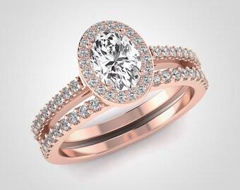 Oval Moissanite Engagement Ring Set, Forever One Moissanite, Natural Diamond Engagement Set, Halo Engagement Ring, 14K Rose Gold