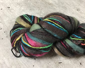 Universal Bamboo Bloom Handpaints Color 325 Steven Belious Black and Neon Multicolored Yarn