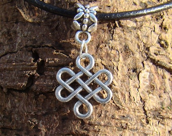 Eternal Knot Charm Thong Necklace
