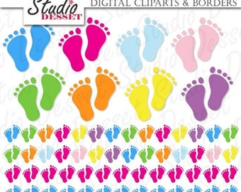 SUMMER SALE - 55% OFF Baby Shower Cliparts & Borders Footprints, Baby Feet Digital Clip Art Pack C144