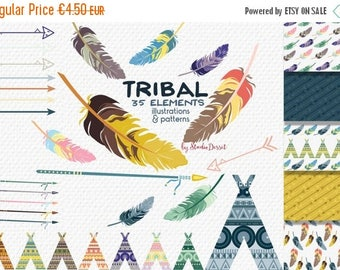 SUMMER SALE - 55% OFF Tribal Clipart, Arrows Clip Art, Tribal Papers, Teepee Clipart Tents, Feathers Illustration, Indian Clipart, Arrow Bac