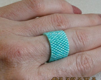 Beaded ring ,  Band ring , Hippie ring ,  Seed bead ring , Beadwoven ring , Woven bead ring , Seed bead jewelry