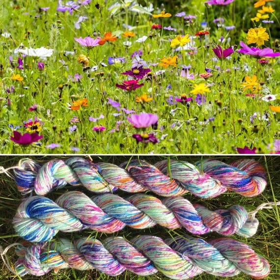 Summer Meadow 20g miniskein, speckled flower indie dyed merino nylon floral sock yarn