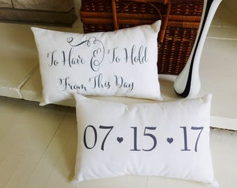 Gift for Wedding, Wedding Gift, Engagement GIft, Wedding date Pillow, Wedding Day GIfts