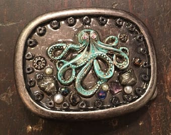 Octopus belt buckle mens belt buckle women's belt buckle steam punk patina octopus freshwater & glass pearls fools gold hematite embellished