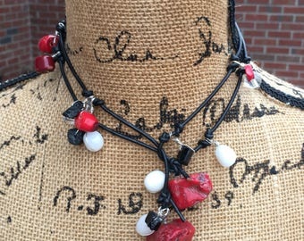 Leather beaded Lariat wrap choker necklace red coral white jade black stone bohemian wrap Necklace boho accessories Lavish Lucy Designs