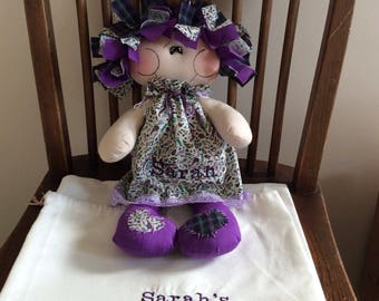 Purple handmade rag doll personalised embroidered message available