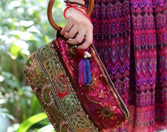 Miya's Original Ethnic Hmong Embroidered Bag Purse Handbag - Forbidden Fruit
