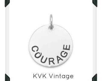 "Oxidized ""COURAGE"" Hand-Stamped Sterling Silver Pendant"