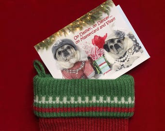 Cute STOCKING STUFFERS for Women - On Master Card and Visa - Cute Christmas Refrigerator Magnet - by Pugs and Kisses