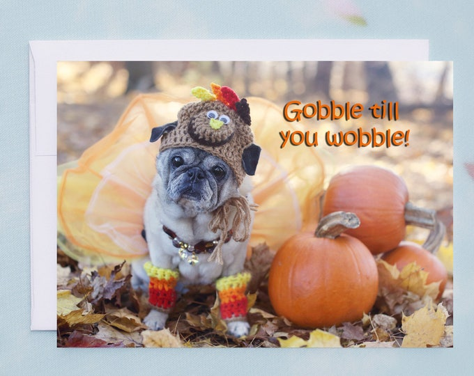 Box of 10 - Funny Thanksgiving Cards - Gobble Till You Wobble  - 5x7