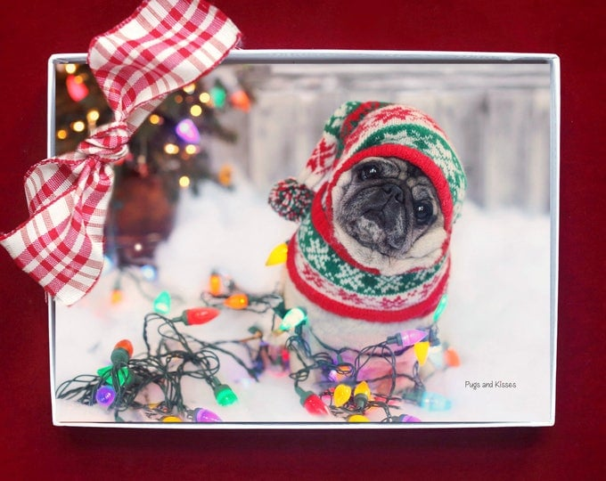 NEW BOXED HOLIDAY Cards - Pug Holiday Cards - 5x7 -  Nailed It