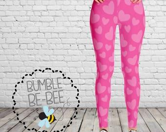 Womens Valentine Leggings Heart leggings pink leggings pink heart leggings valentine day leggings valentines day leggings