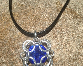 Large Blue Swarovski Crystal Rivoli Captured in a Chainmail Square setting, Chainmail Crystal Pendant Necklace