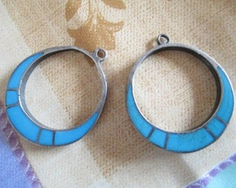"""Native American - Sterling  - Turquoise  - Earrings - Very Vintage Hoops - From Our Family Estate """" -Beautiful Silver Back -  FREE SHIP USA"""