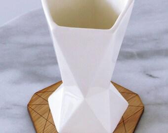 Jewish wedding gift Handmade Kiddush Cup White Ceramic with Wooden Coaster Geometric Style, Shabbat Wine Goblet Made in Israel