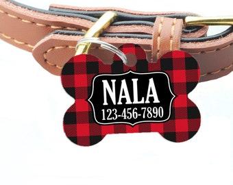 Buffalo Plaid Pet ID Tag - Red Black Plaid Custom Dog Name Tag
