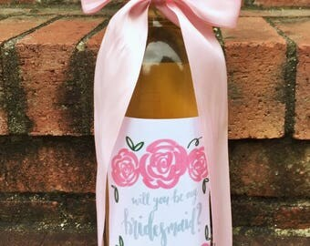 Will You Be My Bridesmaid Wine Label / Bridesmaid Wine Sticker / Bridal Party Wine Bottle / Floral Wine Label / Wine Bottle Sticker