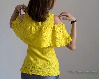 "Blouse ""SUN"" Felted Nuno"