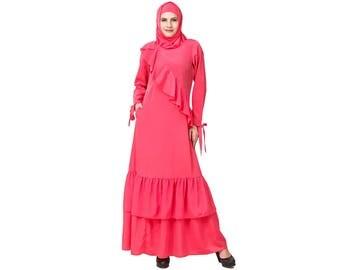 MyBatua Sweet Pink Muslim Occasion Wear Abaya | Islamic Women's Wear Jilbab Jalabiya Burqa Maxi Dress | Dubai Abaya Clothing| AY-586